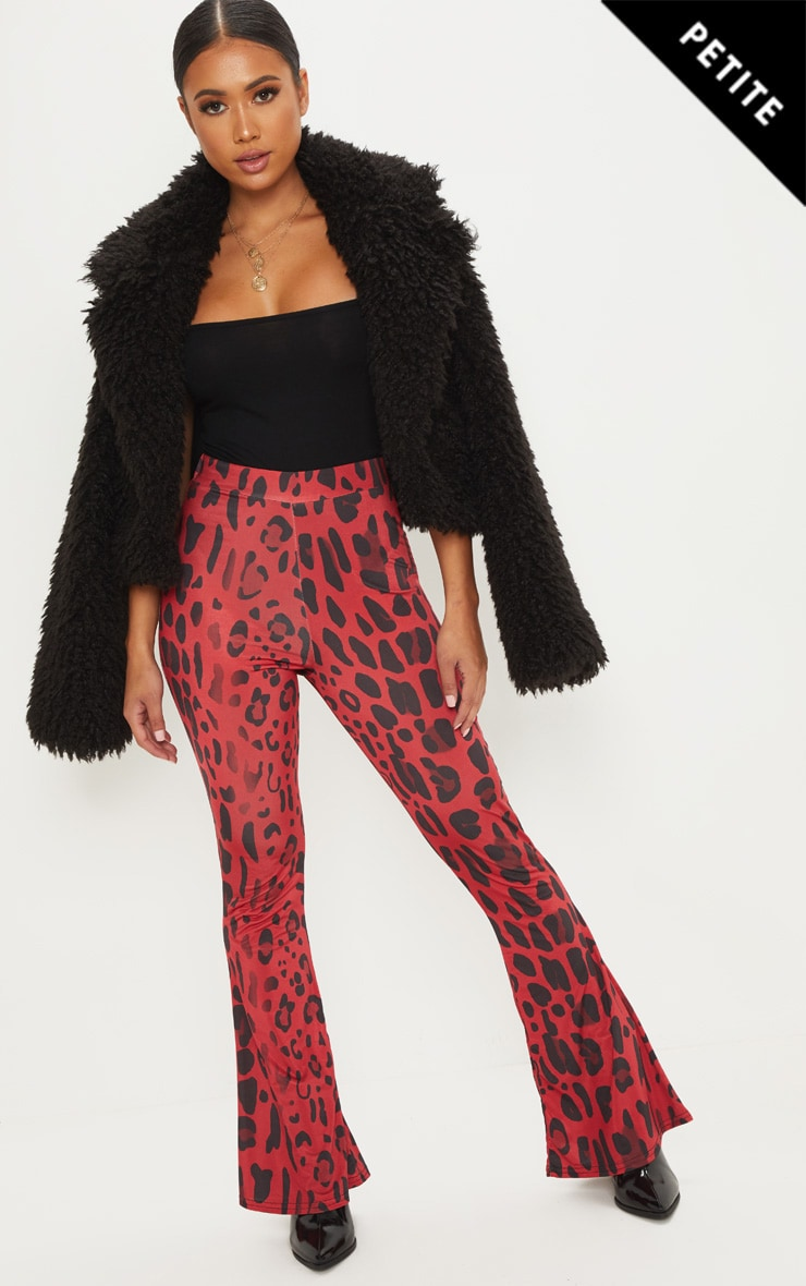 Petite Red Slinky Leopard Print Flared Trousers