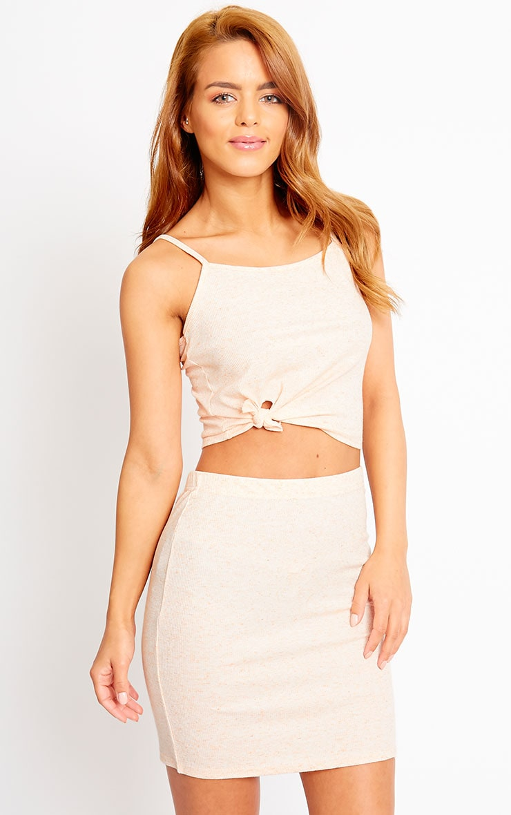 Honey Nude Ribbed Knot Crop Top 4