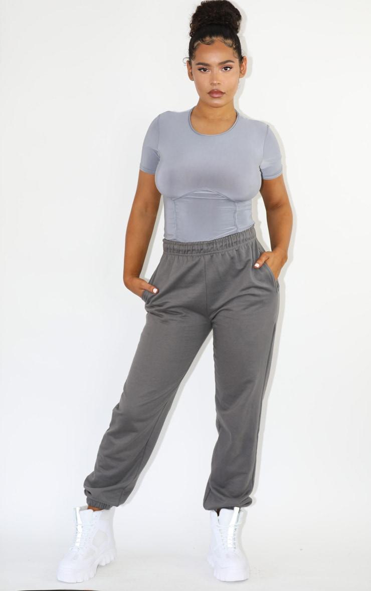 Grey Jersey Underbust Short Sleeve Bodysuit 2
