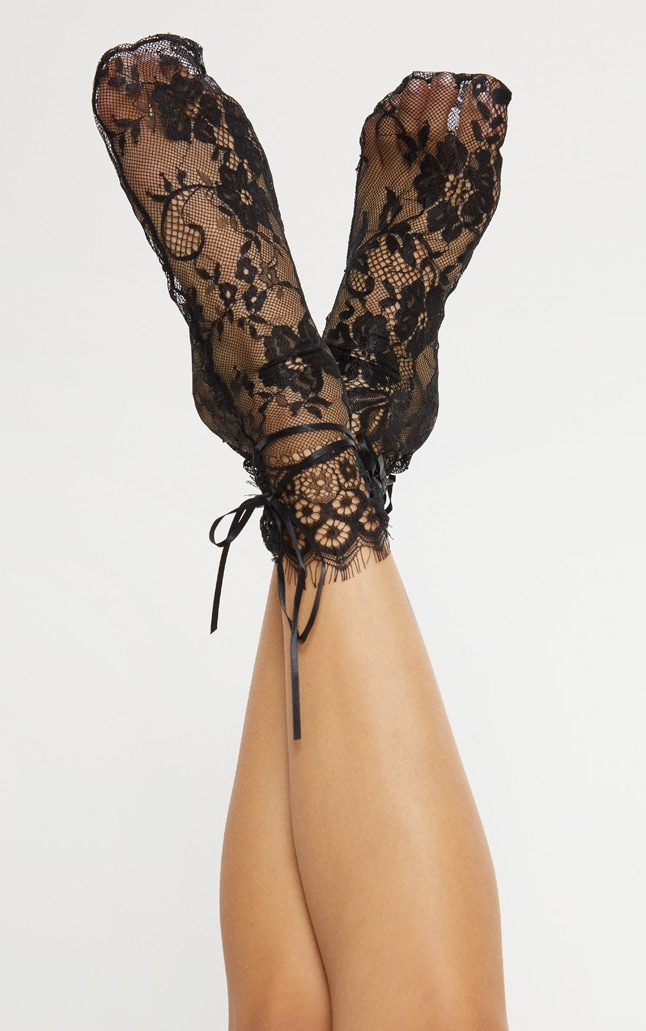 Black Lace Long Socks 1