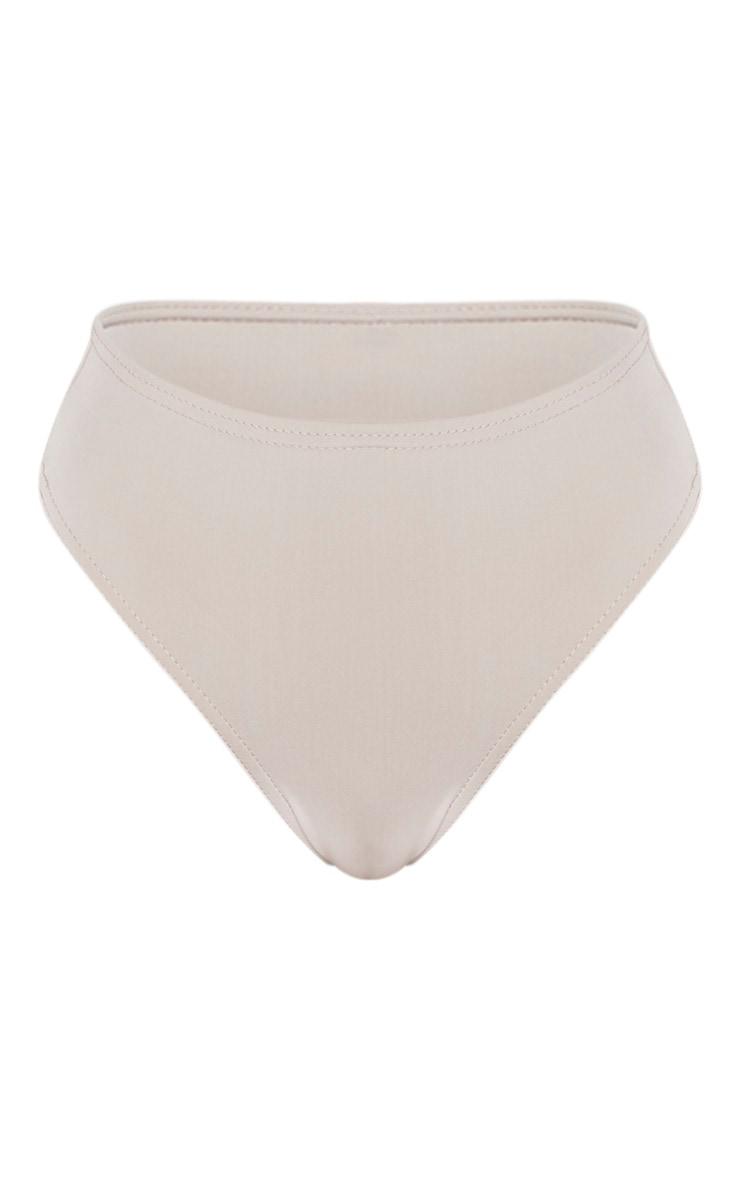 Grey High Waist High Leg Bikini Bottoms 4