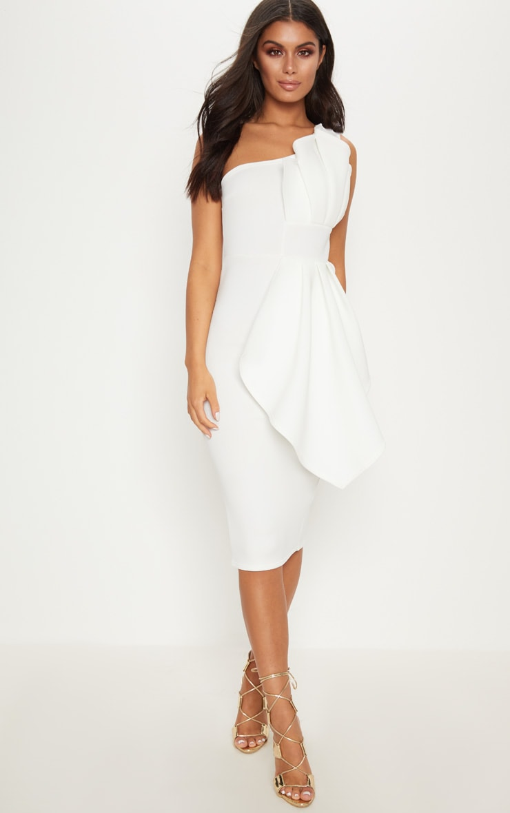 White One Shoulder Pleated Detail Midi Dress 1