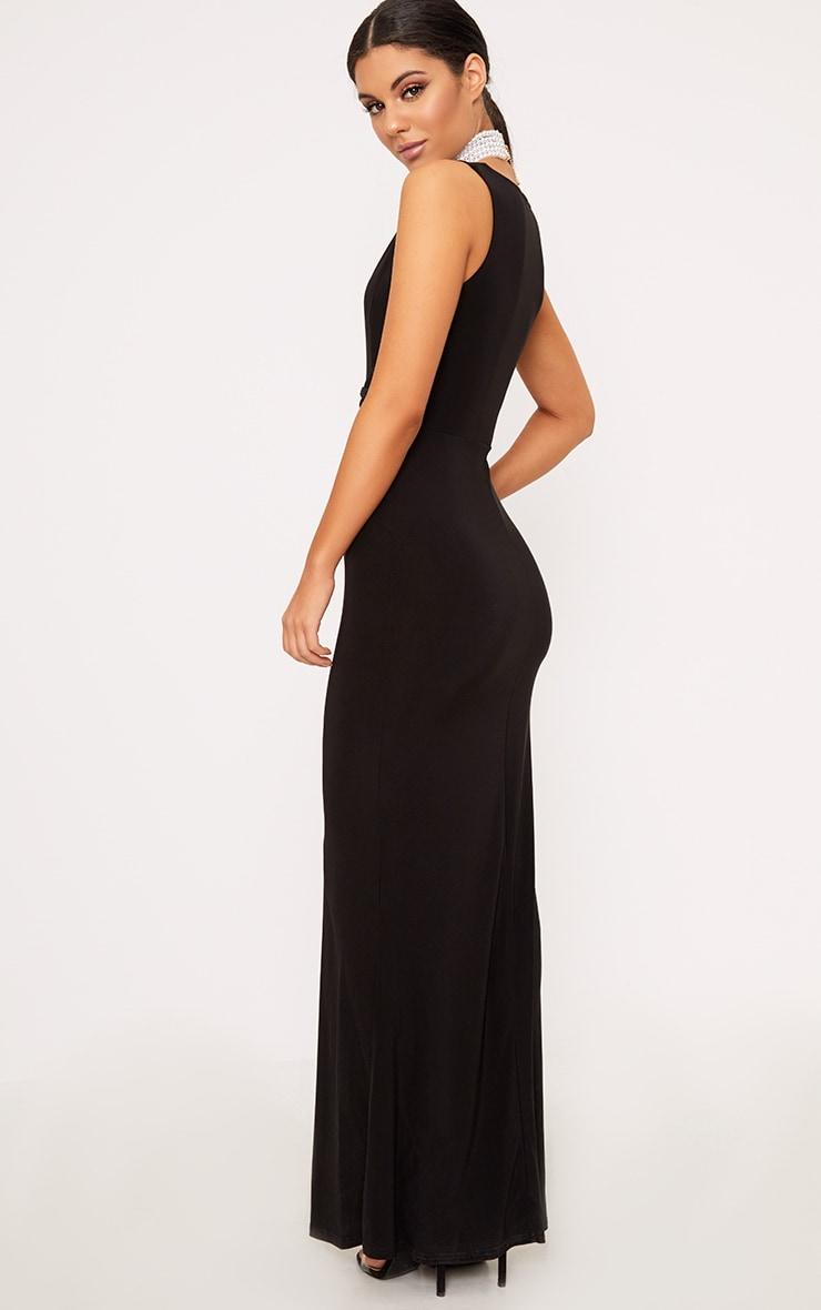 Maci Black Double Wrap Slinky Maxi Dress 2