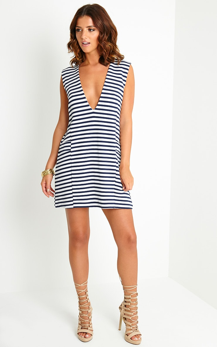 Imogene Stripe Loose Fit Shift Dress 3