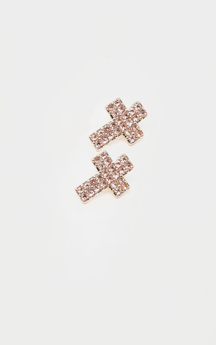 Gold Diamante Cross Stud Earring 3