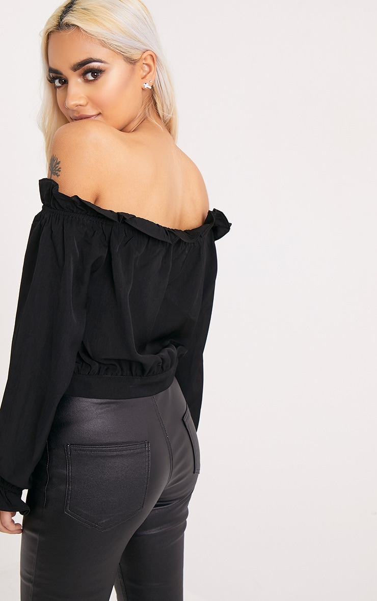 Ivy Black Frill Bardot Button Front Blouse 2
