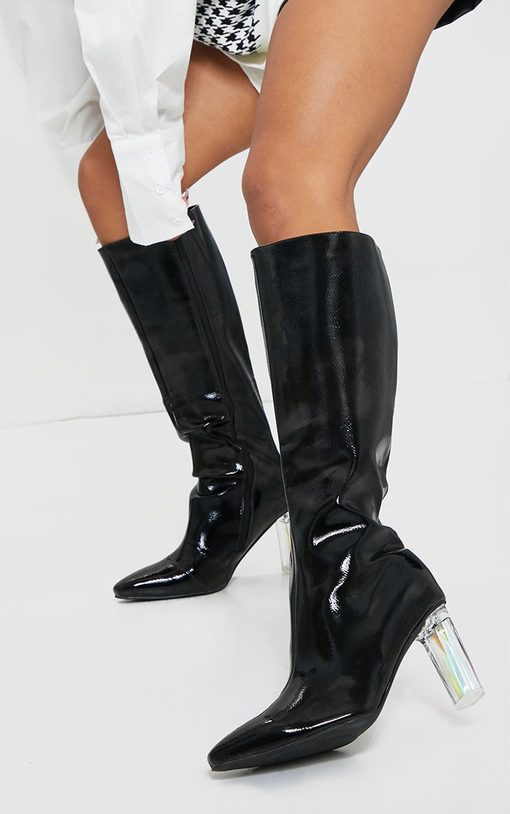 Black Wide Fit Patent Clear High Block Heel Knee High Boots 2