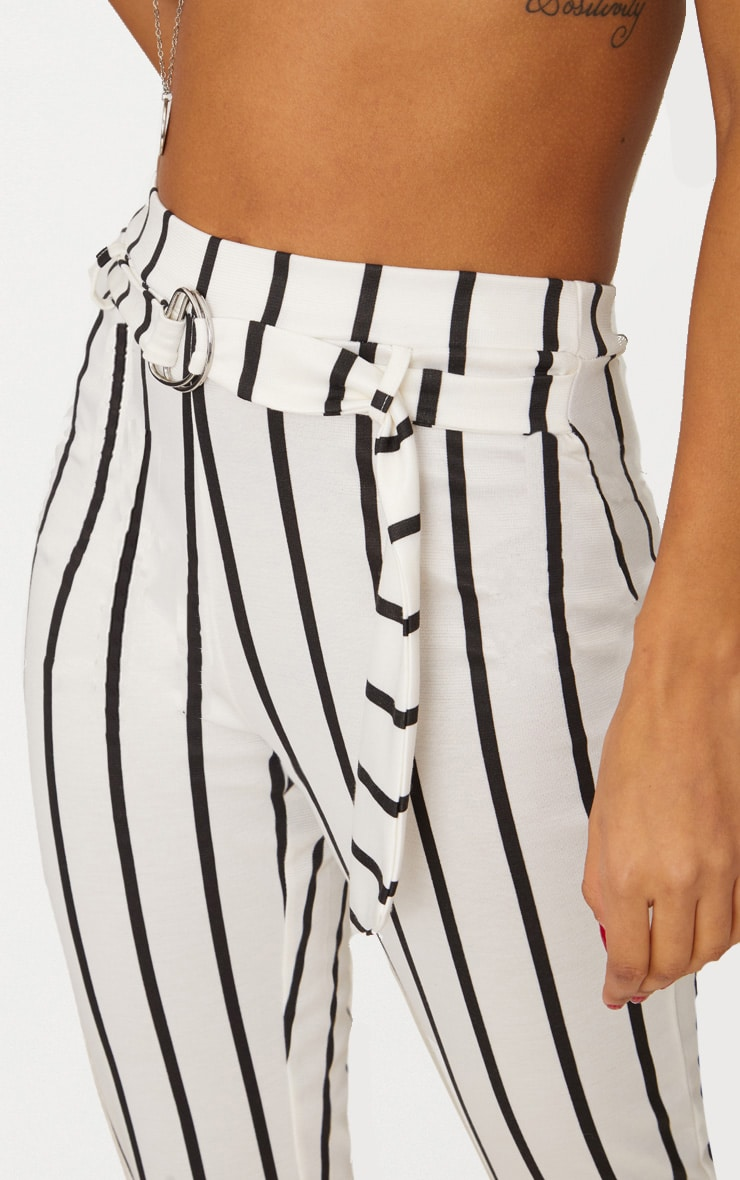 White Monochrome Stripe Belted Cigarette Pants 5