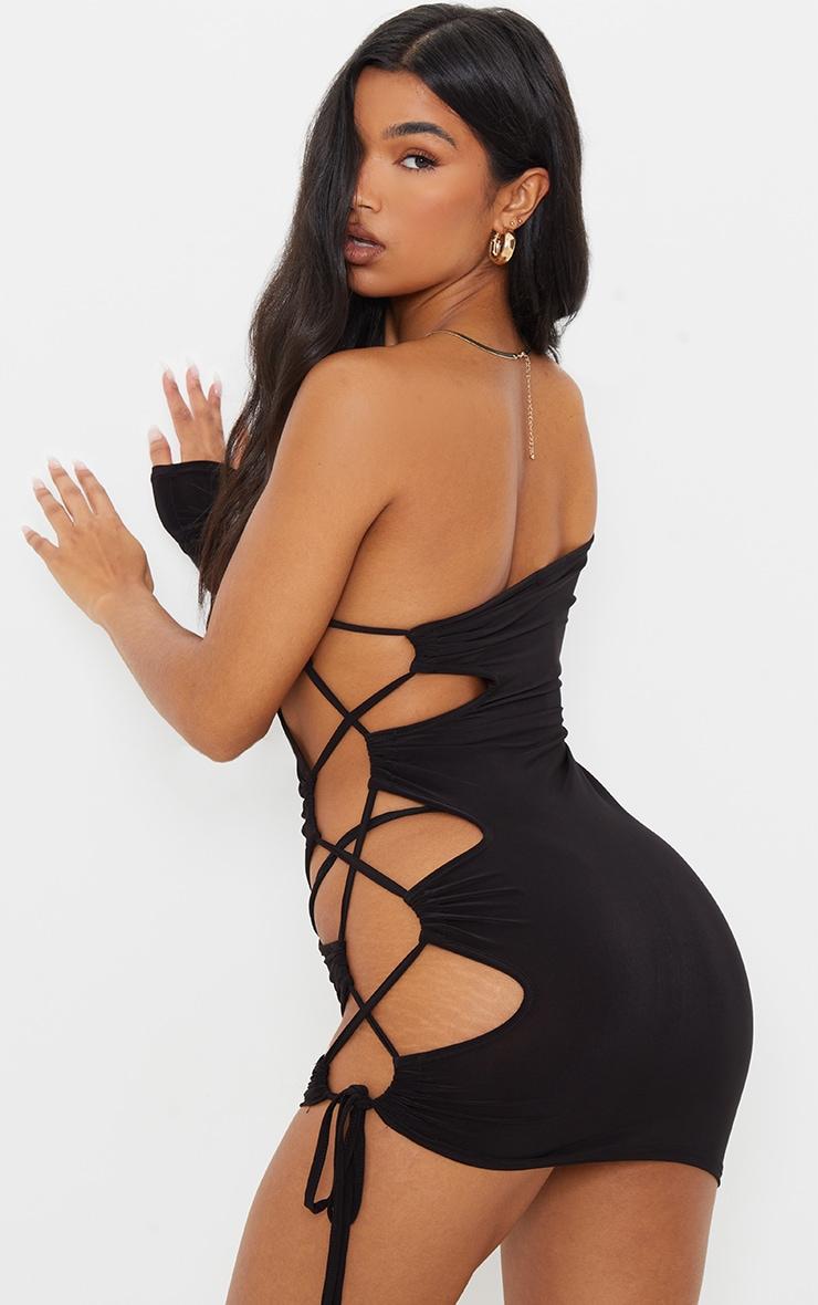 Black Slinky One Shoulder Lace Up Side Seam Bodycon Dress 2