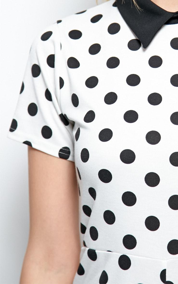 Edie White Polka Dot Collar Playsuit 4