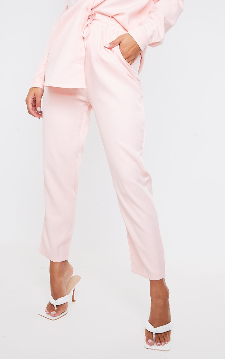 Pantalon cigarette rose clair 2