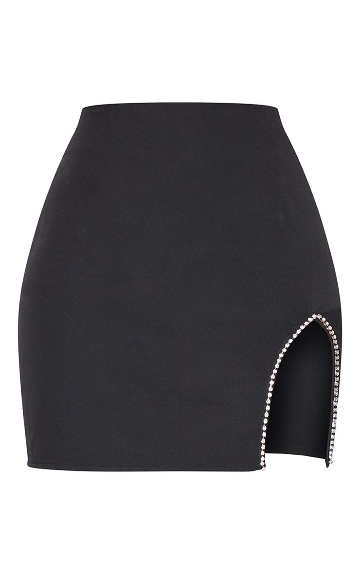 Petite Black Diamante Split Skirt 6