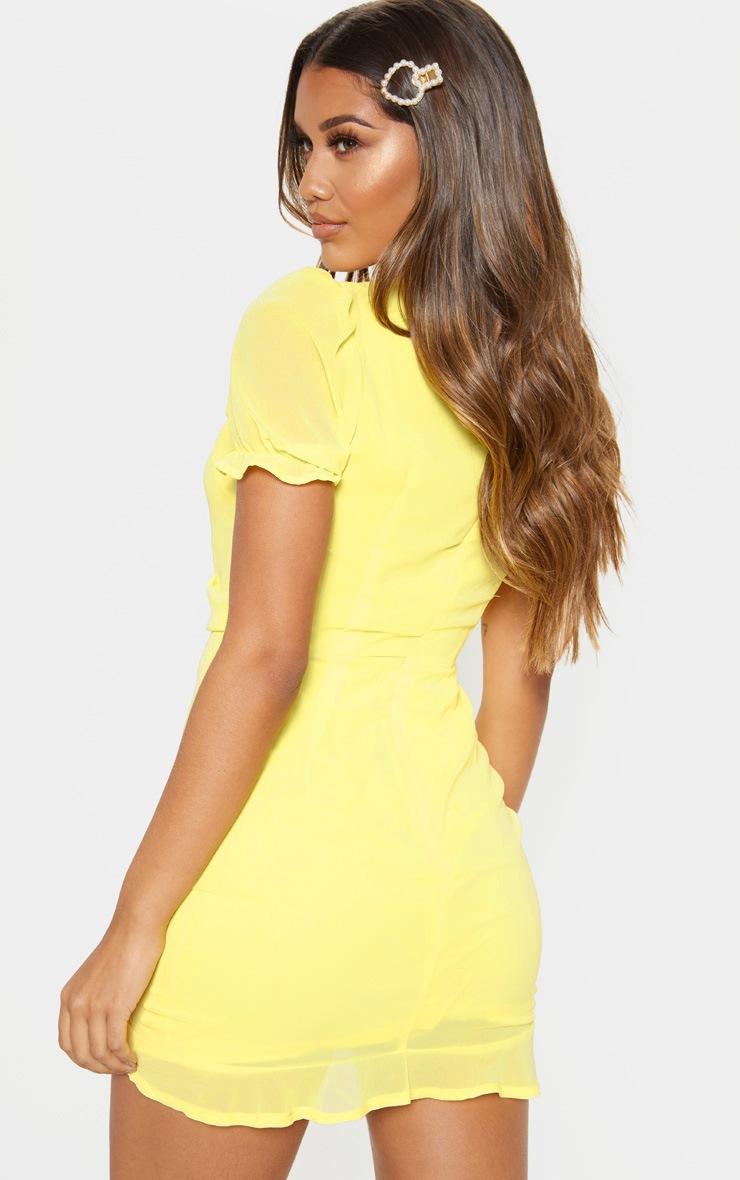 Lemon Ruched Detail Bodycon Dress 2