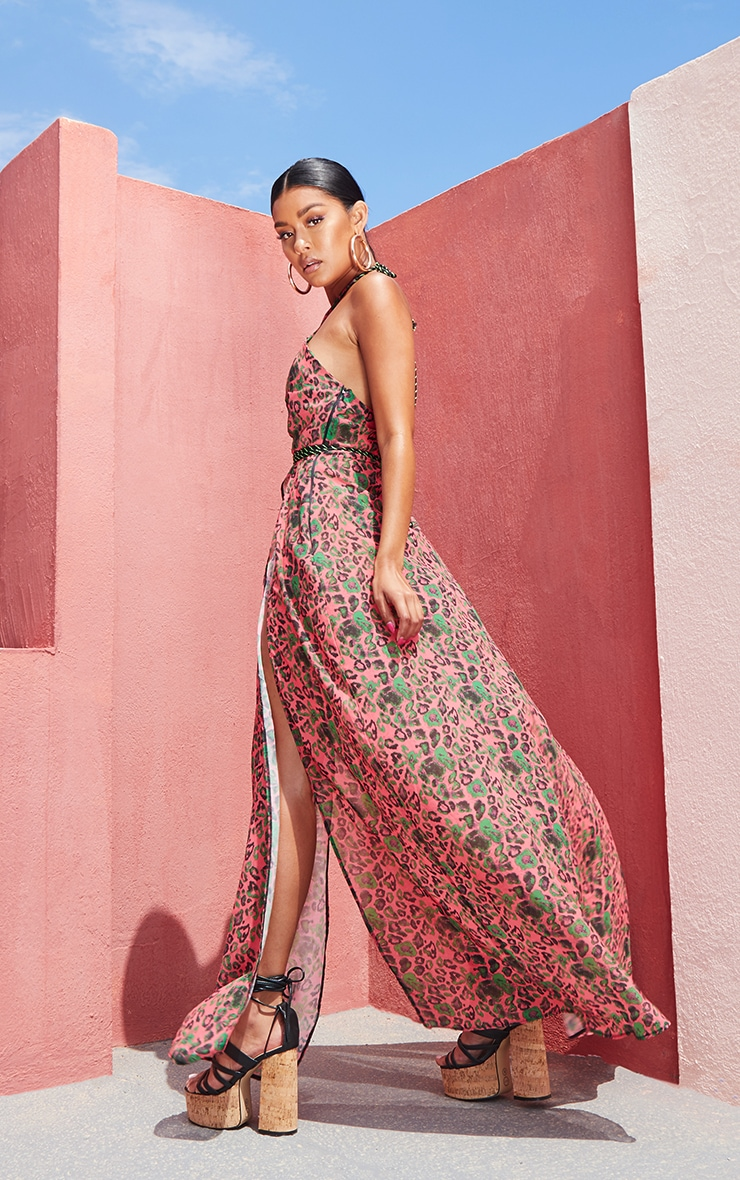 Pink Leopard Neon Rope Maxi Dress 4