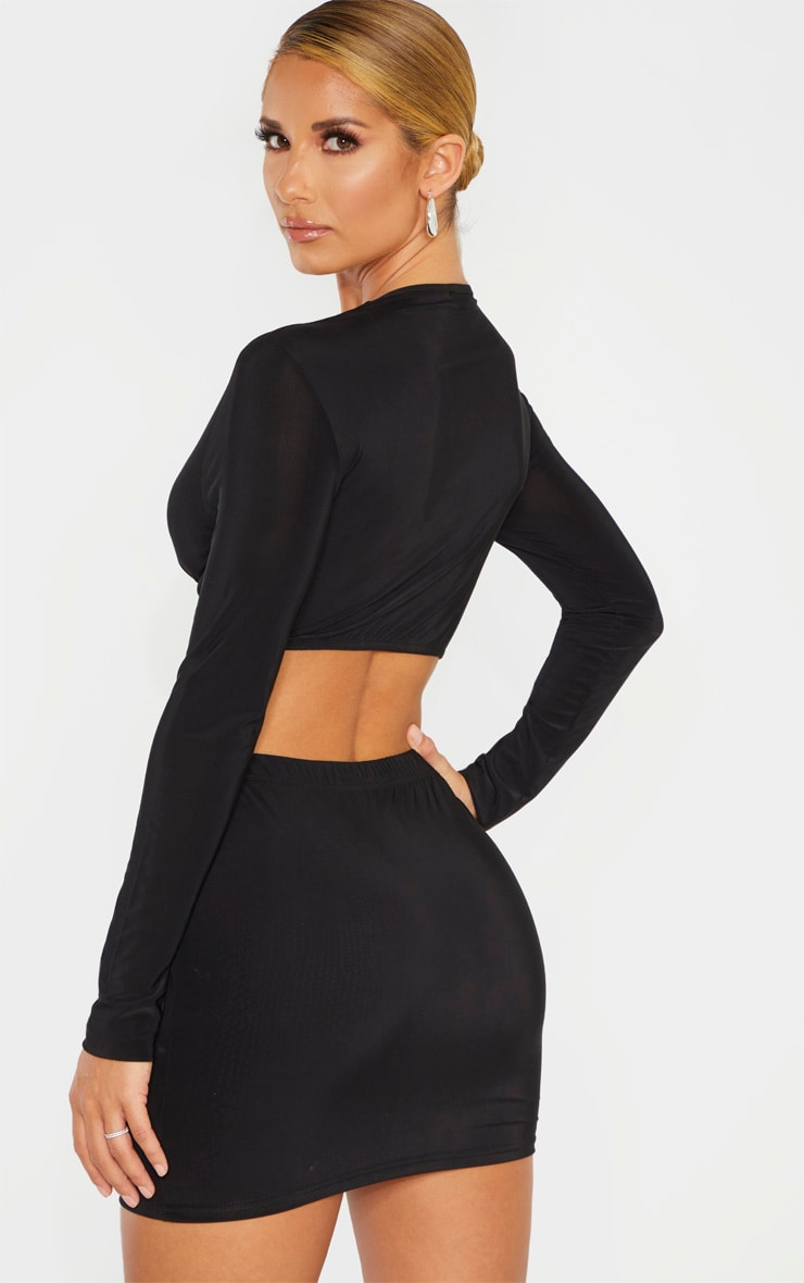 Black Slinky Knot Front Cut Out Bodycon Dress 2