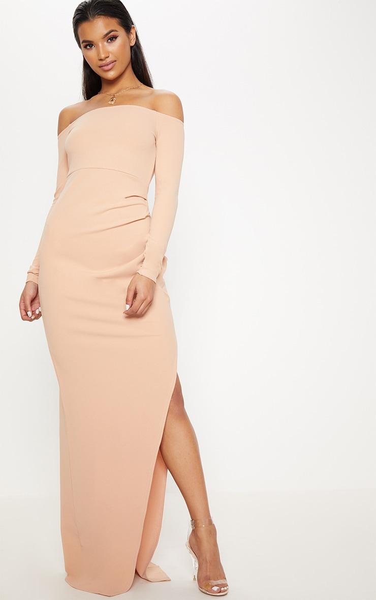 Nude Wrap Over Long Sleeve Bardot Maxi Dress