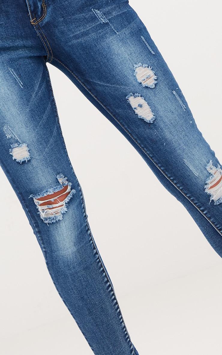 Vintage Wash Distressed Skinny Jeans 5