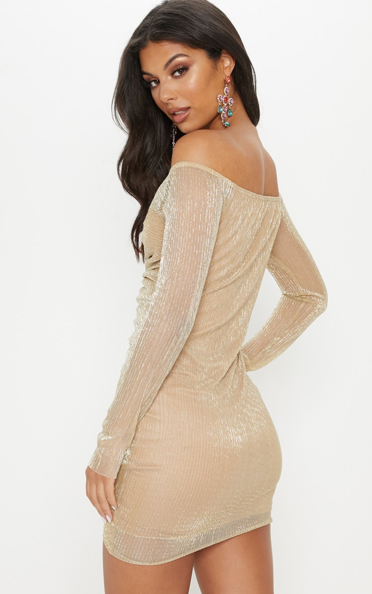 Gold Metallic Plisse Ruched Front Bardot Bodycon Dress 2