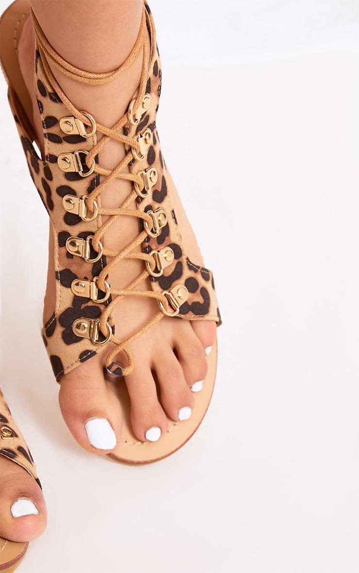 Nerina Animal Print Lace Up Gladiator Sandals 5