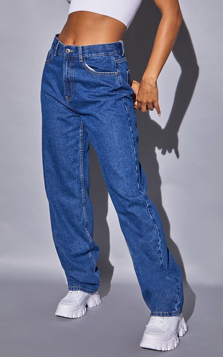Recycled Mid Blue Wash Basic Low Rise Baggy Boyfriend Jeans 2