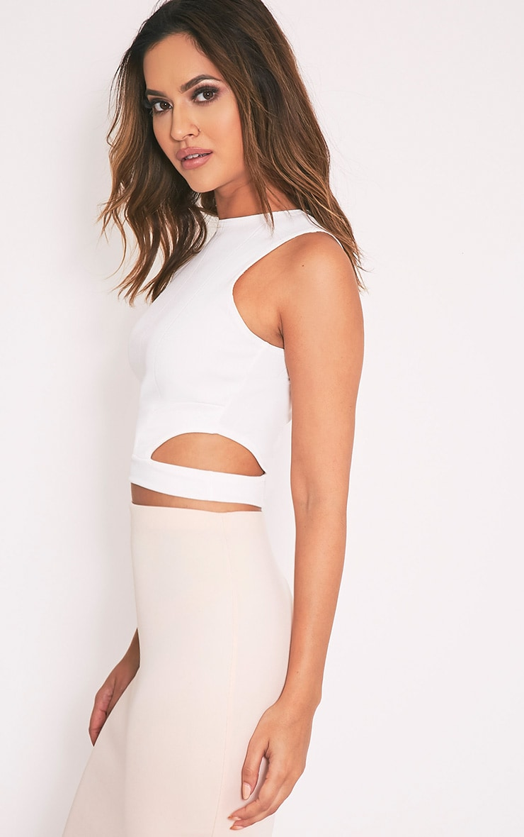 Electra Cream Bandage Cut Out Crop Top 4