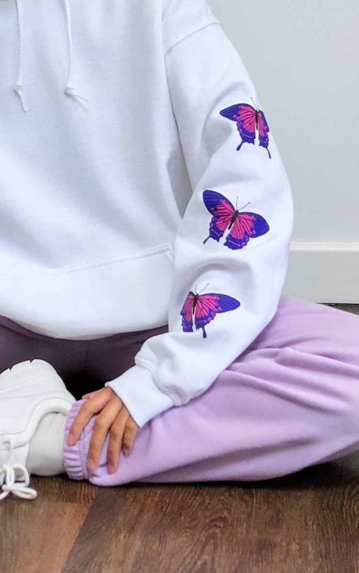White Butterfly Arm Print Hoodie 4