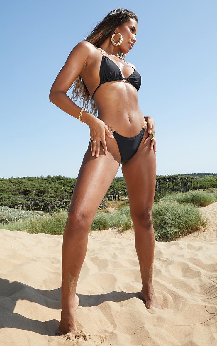 Black Heart Strap Bikini Bottoms 3