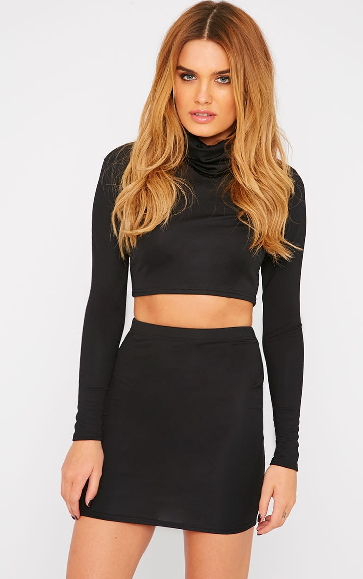 Emilia Black Crepe Roll Neck Crop Top  4