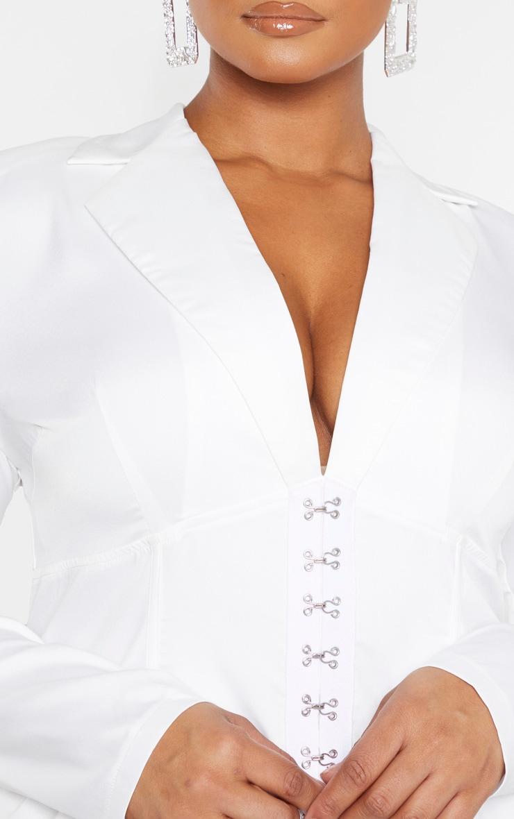 Plus White Eyelet Detail Corset Bodycon Dress 5