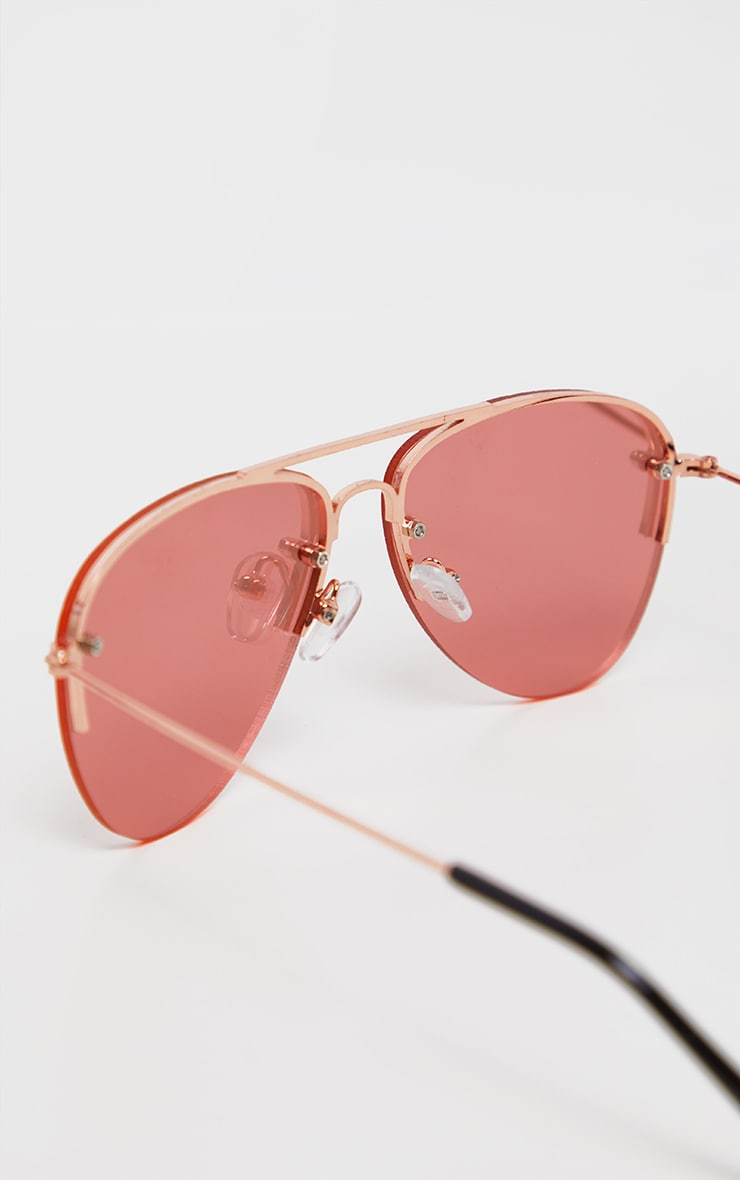 Pink Lens Rose Gold Aviator Sunglasses           3