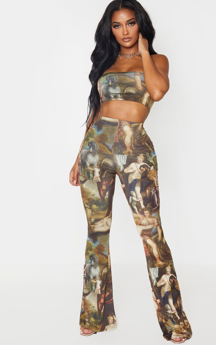 Shape Multi Oriental Print Slinky Flared Pants 1