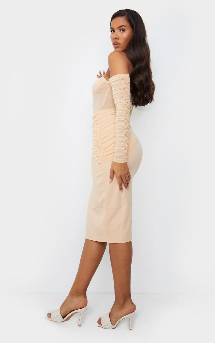 Nude Mesh Drape Corset Detail Bardot Midi Dress 2