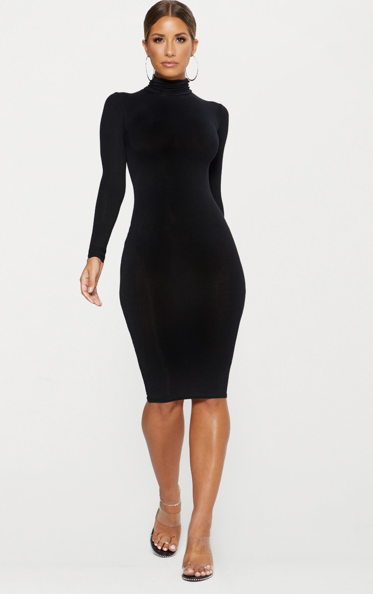 Basic Black Roll Neck Midi Dress 4