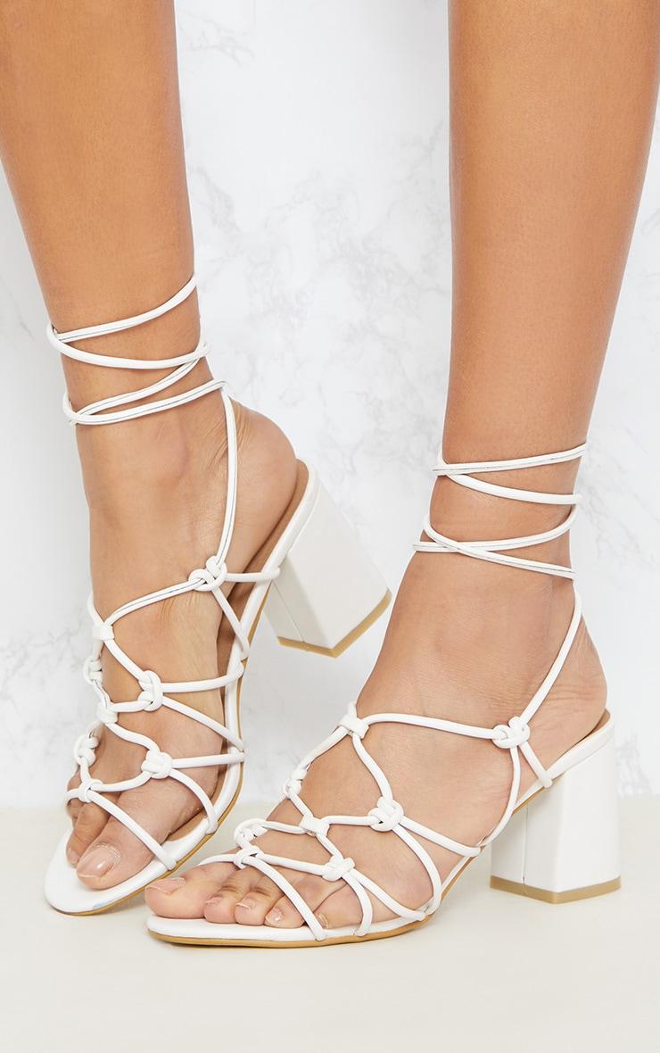 White Block Heel Leg Tie Sandal 2