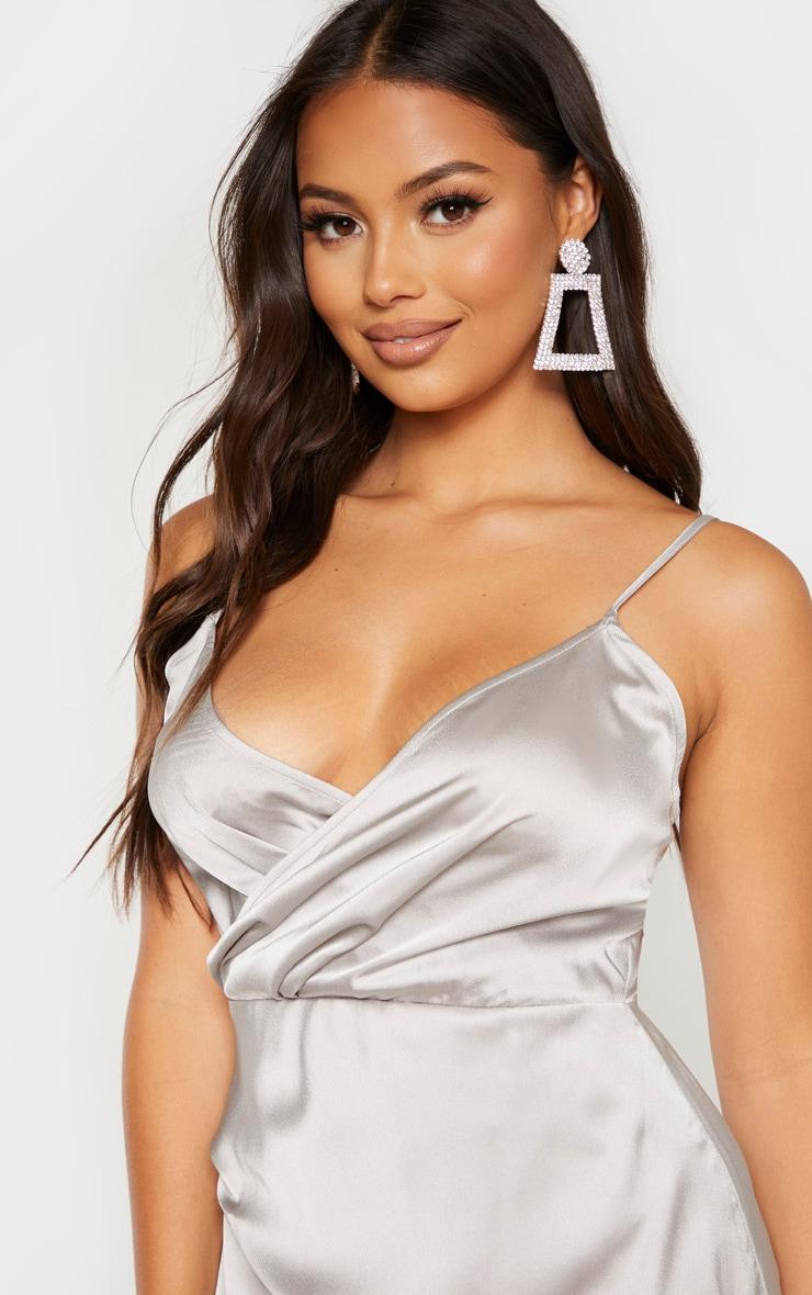 Petite Grey Satin Wrap Detail Maxi Dress 5
