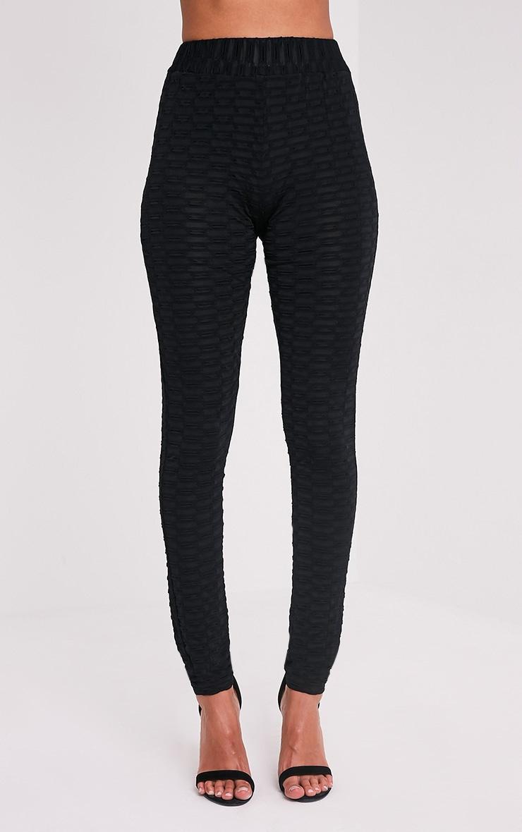 Alecia Black Waffle Knit High Waisted Leggings 2