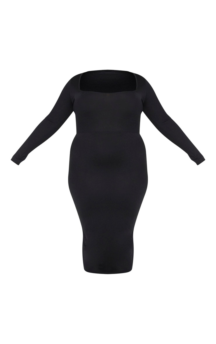 Plus Black Square Neck Long Sleeve Midaxi Dress 5