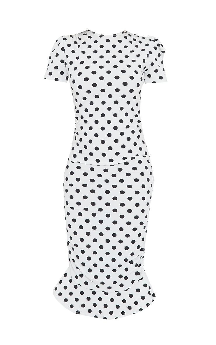 White Polka Dot Puff Sleeve Ruched Frill Hem Midi Dress 5