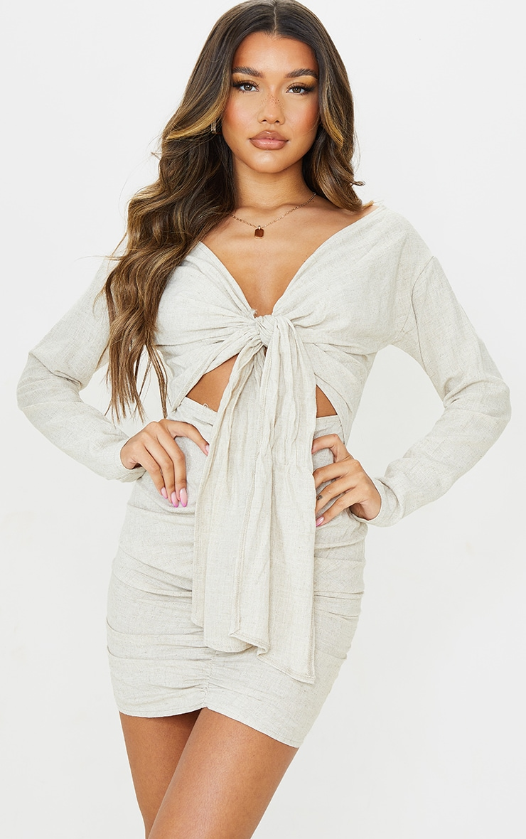 Stone Linen Look Bardot Tie Front Ruched Skirt Bodycon Dress