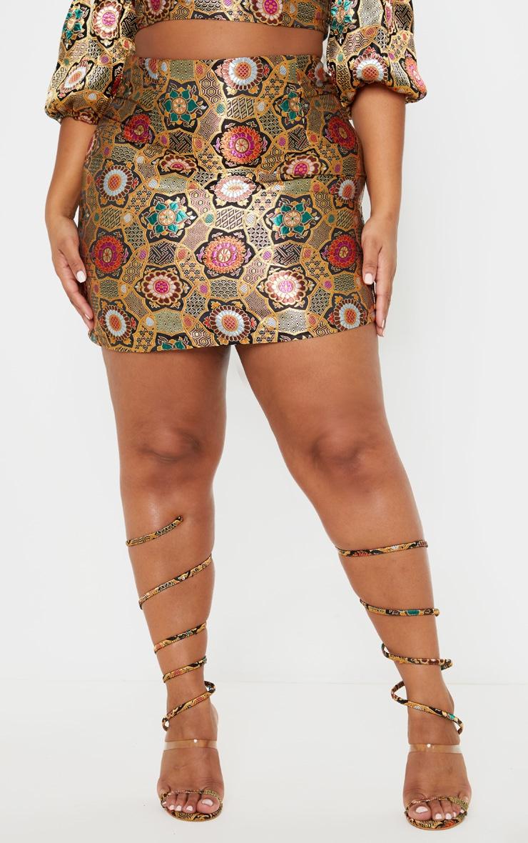 Plus Gold Jacquard Bodycon Skirt 2