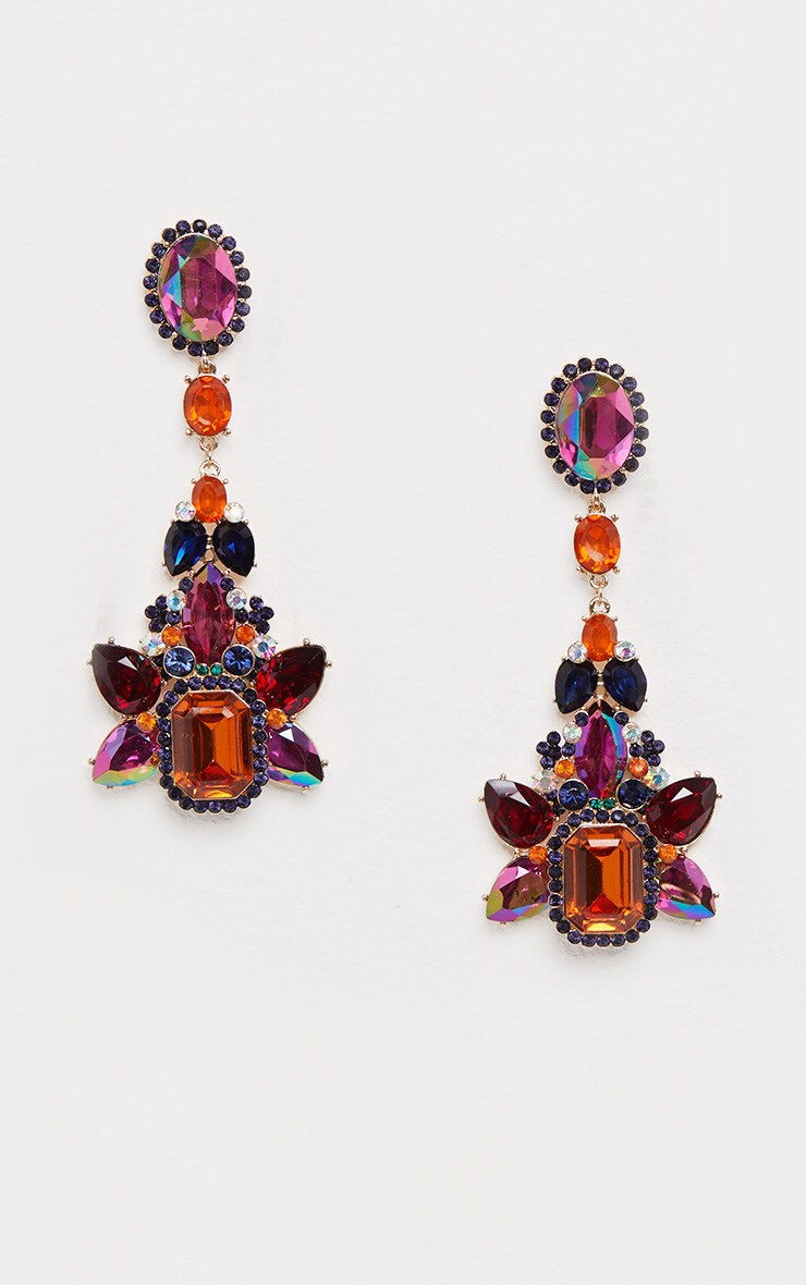 Purple And Orange Gemstone Embellished Statement Drop Earrings 2