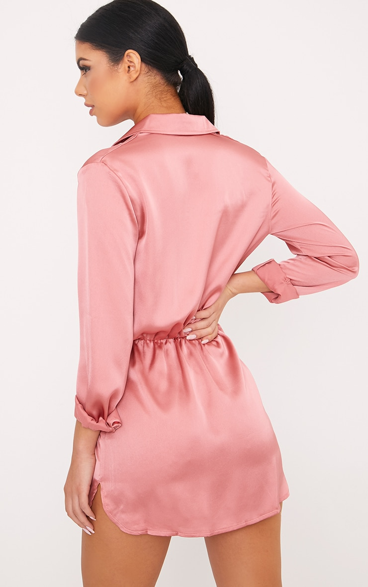 Katalea Rose Twist Front Silky Shirt Dress 2