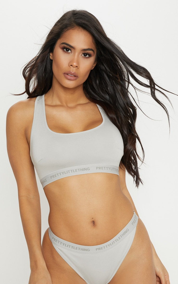 PRETTYLITTLETHING Space Grey Tonal Sports Bra