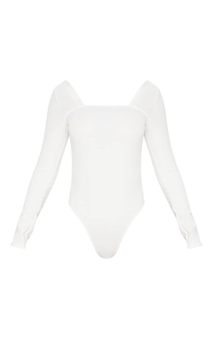 White Long Sleeve Square Neck Thong Bodysuit 3