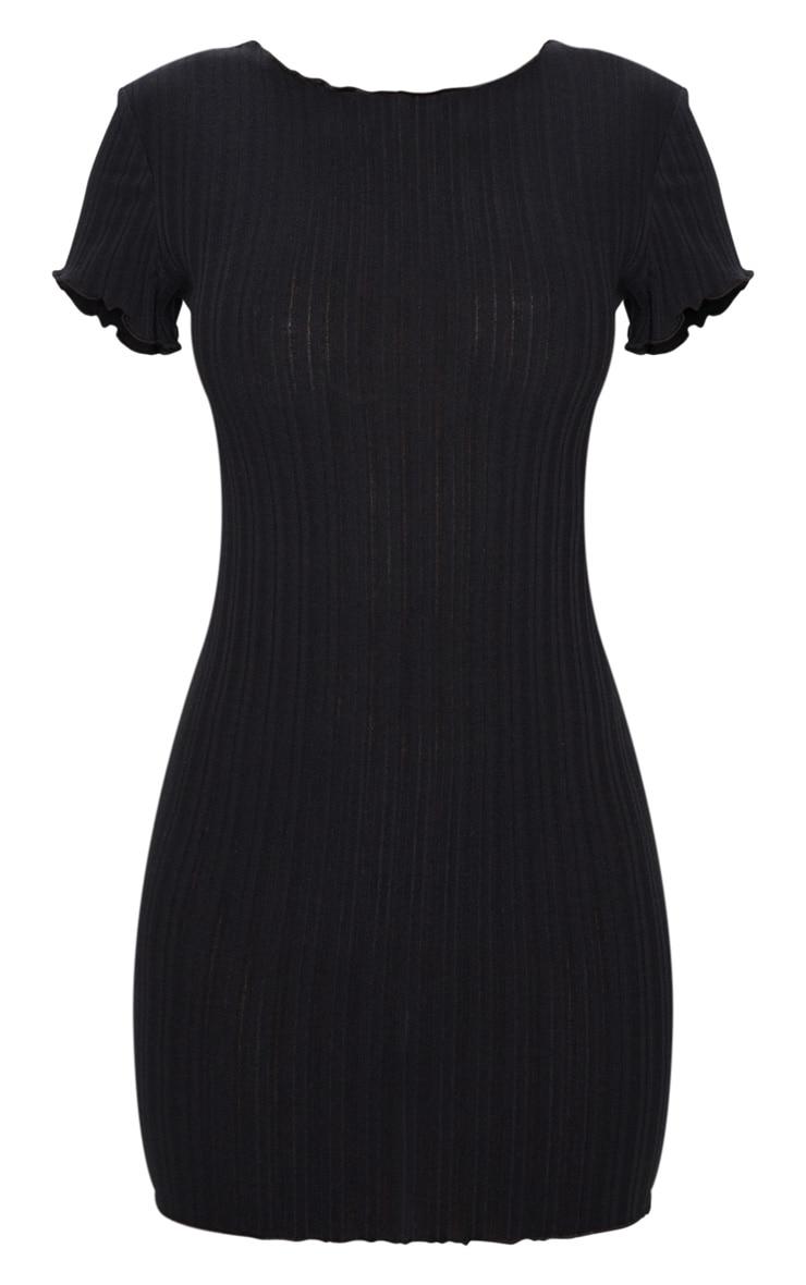 Black Frill Edge Scoop Back Short Sleeve Bodycon Dress 5