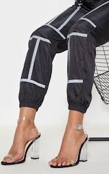 Black Wide Fit Clear Block Heel Sandal 2