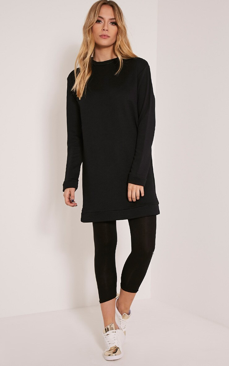 Melonie Black Ribbed Longline Sweater 5