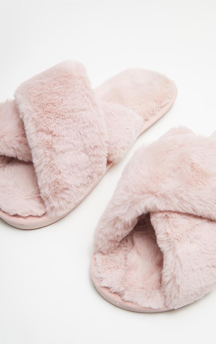 Pink Fluffy Cross Strap Slippers 5