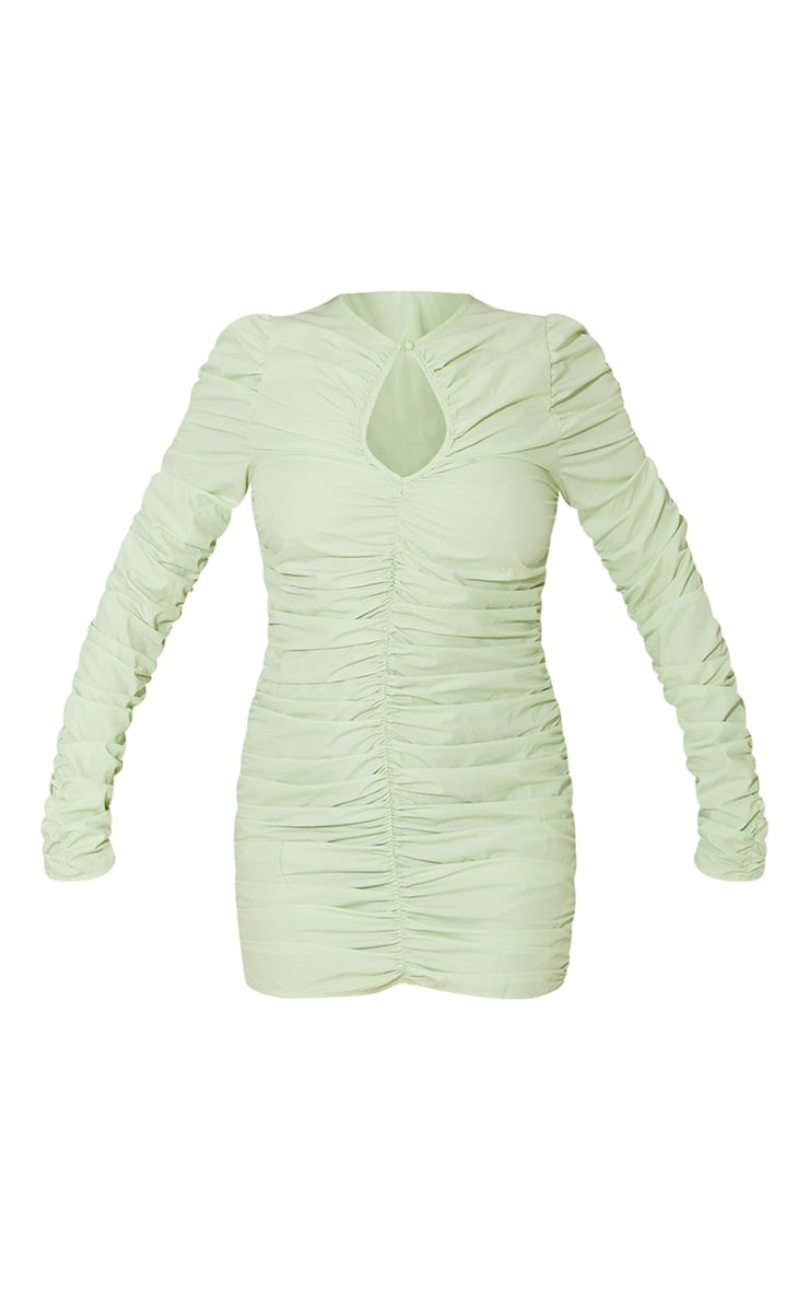 Sage Green Woven Ruched Keyhole Cut Out Long Sleeve Bodycon Dress 5