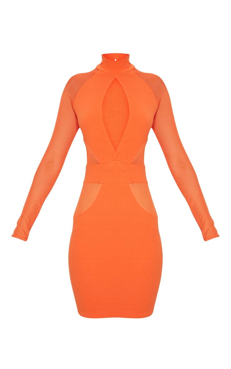 Bright Orange High Neck Keyhole Mesh Insert Bodycon Dress 3